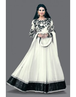 Festival Wear White Georgette Anarkali Suit  - 71010