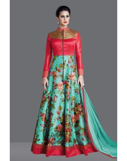 Ethnic Wear Red Banglori Silk Anarkali Suit  - 71014A