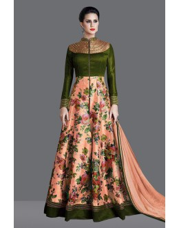 Festival Wear Green Banglori Silk Anarkali Suit  - 71014B