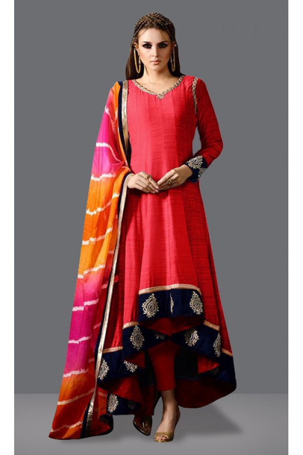 Party Wear Peach & Red Fantam Silk Anarkali Suit  - 71015B