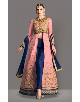Party Wear Peach Banglori Silk Slit Salwar Suit  - 71017