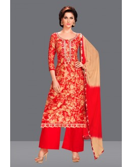 Office Wear Red Glaze Cotton Palazzo Suit  - 71079