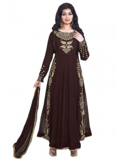 Ayesha Takia In Brown Georgette Anarkali Suit  - 71104A