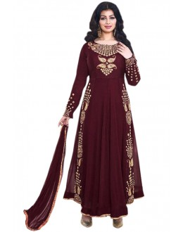 Ayesha Takia In Maroon Georgette Anarkali Suit  - 71104B