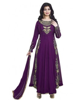 Ayesha Takia In Purple Georgette Anarkali Suit  - 71104C