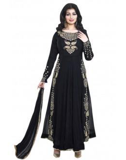 Ayesha Takia In Black Georgette Anarkali Suit  - 71104D