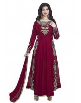 Ayesha Takia In Red Georgette Anarkali Suit  - 71104E