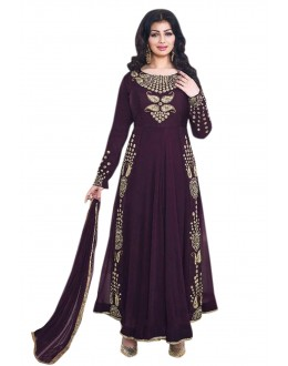 Ayesha Takia In Dark Purple Georgette Anarkali Suit  - 71104F