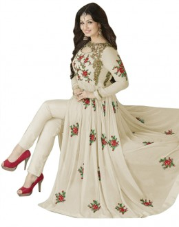 Ayesha Takia In Cream Georgette Slit Anarkali Suit  - 71127B