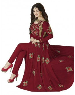 Ayesha Takia In Maroon Georgette Slit Anarkali Suit  - 71127E