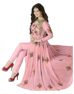 Ayesha Takia In Pink Georgette Slit Anarkali Suit  - 71127F