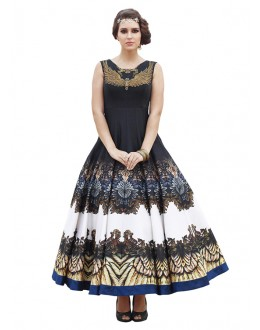 Party Wear Black Banglori Silk Gown - 71130