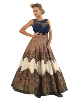 Festival Wear Blue & Brown Banglori Silk Gown - 71131