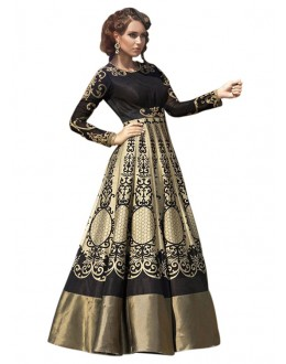 Traditional Black Banglori Silk Gown - 71133