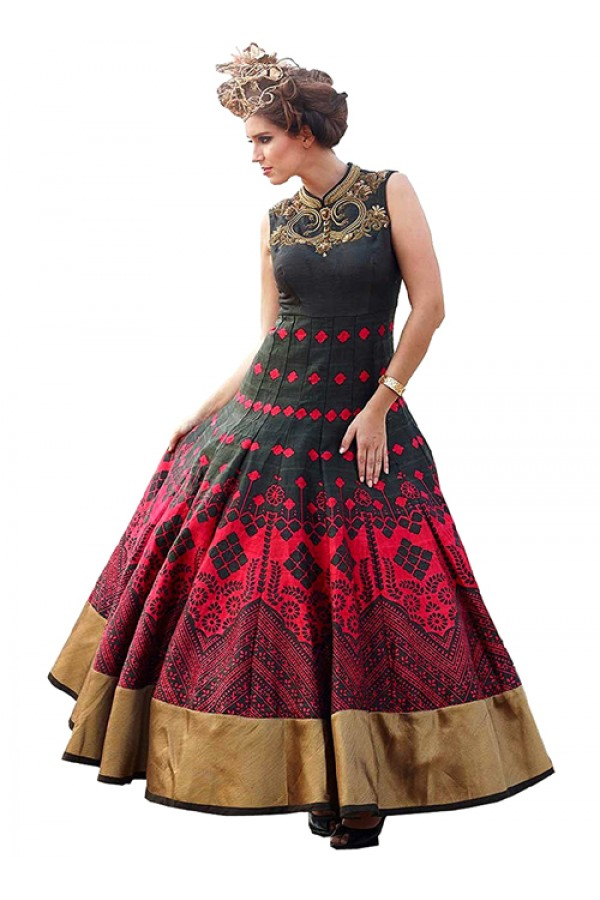 Party Wear Black & Red Banglori Silk Gown - 71134