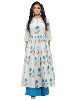 Festival Wear White & Sky Blue Indo Palazzo Suit  - 71140