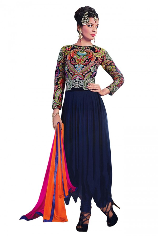 Party Wear Navy Blue Georgette Anarkali Suit  - 71141