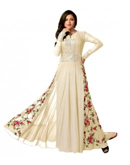 Party Wear Cream Georgette Anarkali Suit  - 71145