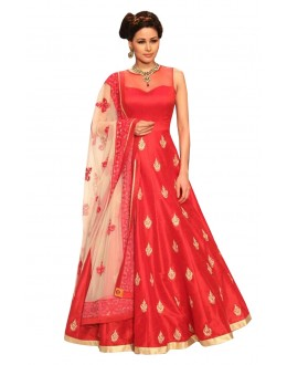 Festival Wear Readymade Red Bhagalpuri Anarkali Suit - 71151
