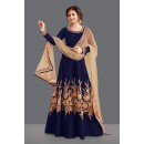 Traditional Navy Blue Bhagalpuri Anarkali Suit  - 71057D