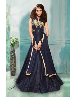 Festival Wear Navy Blue Tapeta Silk Anarkali Suit  - 71152H
