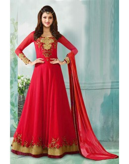 Festival Wear Red Georgette Anarkali Suit  - 71155