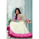 Party Wear Off White Georgette Anarkali Suit  - 71158A