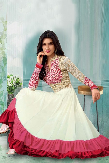Designer Off White Georgette Anarkali Suit  - 71158B