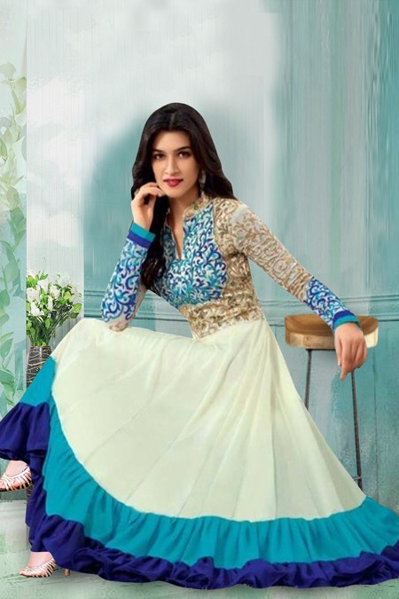 Traditional Off White Georgette Anarkali Suit  - 71158C
