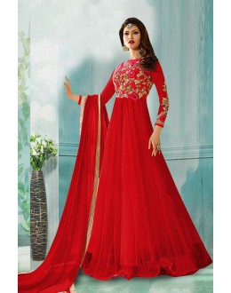 Wedding Wear Red Net Anarkali Suit  - 71160