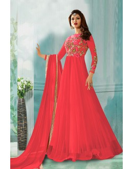 Festival Wear Pink Net Anarkali Suit  - 71160A