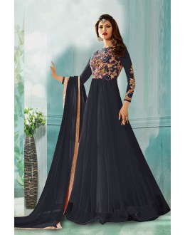 Ethnic Wear Black Net Anarkali Suit  - 71160B