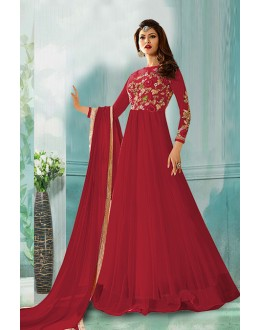 Festival Wear Maroon Net Anarkali Suit  - 71160C