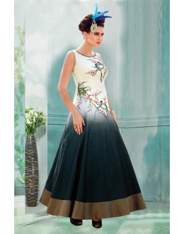 Party Wear Cream Bhagalpuri Gown - 71161