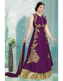 Ayesha Takia In Purple & Golden Lehenga Suit  - 71165B