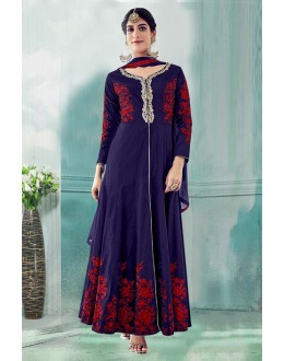 Festival Wear Navy Blue Tafeta Silk Anarkali Suit  - 71175A