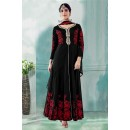 Ethnic Wear Black Tafeta Silk Anarkali Suit  - 71175C