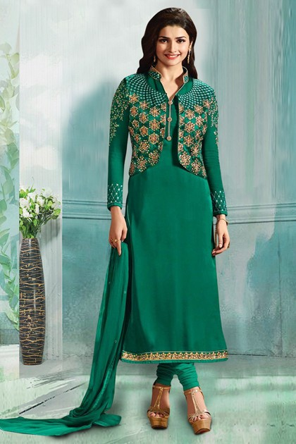 Prachi Desai In Green Georgette Salwar Suit  - 71177B