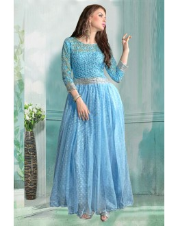 Party Wear Blue Net Gown - 71184A