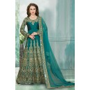 Wedding Wear Rama Green Anarkali Suit  - 16157