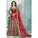 Tafeta Silk Red Embroidery Anarkali Suit  - 16159