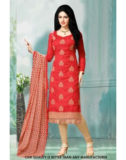 Ethnic Wear Red Jacquard Salwar Suit - 71219