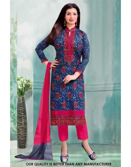 Ayesha Takia In Blue Cotton Salwar Suit - 71222