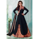 Party Wear Black Taffeta Indo Western Suit - 71232B