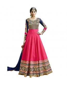Wedding Wear Pink Georgette Anarkali Suit  - 71248