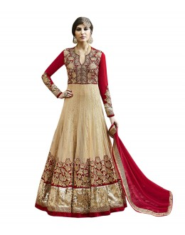 Festival Wear Cream Net Anarkali Suit  - 71250