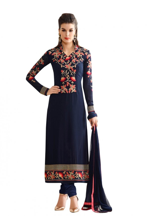 Festival Wear Navy Blue Georgette Salwar Suit  - 71253