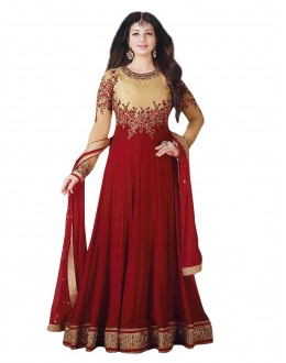 Ayesha Takia In Maroon Georgette Anarkali Suit  - 71259