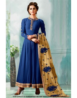 Party Wear Blue Georgette Anarkali Suit  - 71276C