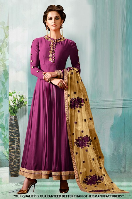 Party Wear Purple Georgette Anarkali Suit  - 71276E